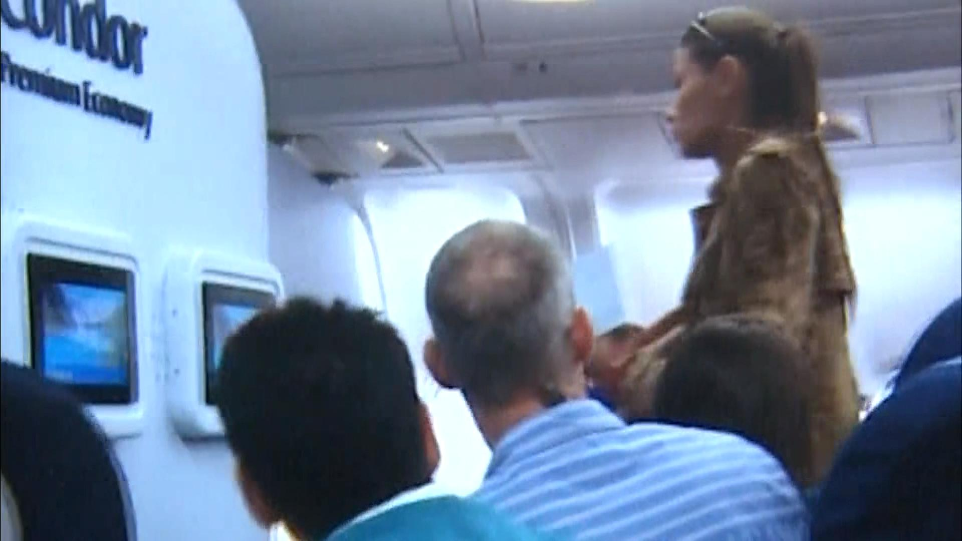The woman on the Condor Airlines flight (credit: CBS)