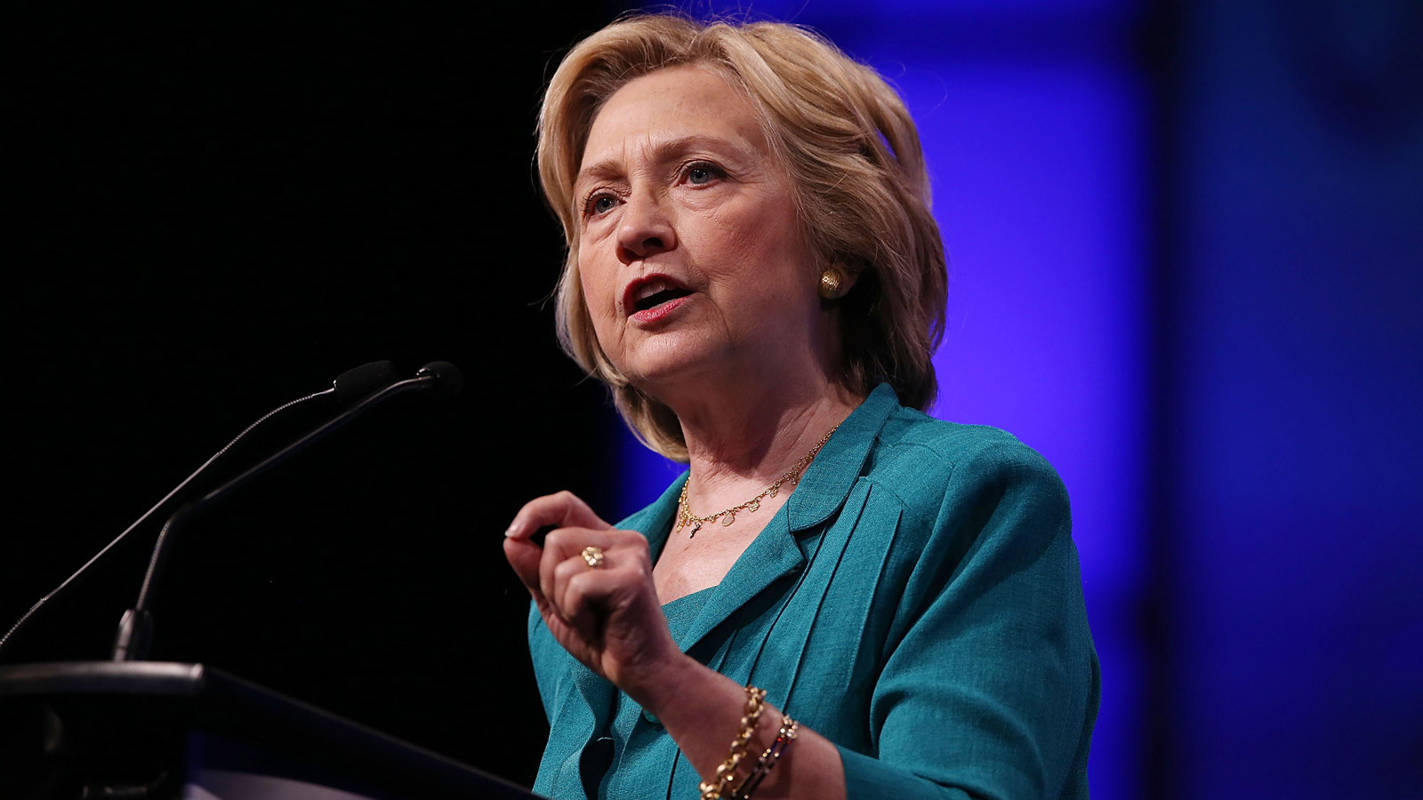Democratic Presidential hopeful and former Secretary of State Hillary Clinton speaks during the Presidential Candidates Plenary at the National Urban League conference in the Fort Lauderdale Convention Center on July 31, 2015. (credit: Joe Raedle/Getty Images)