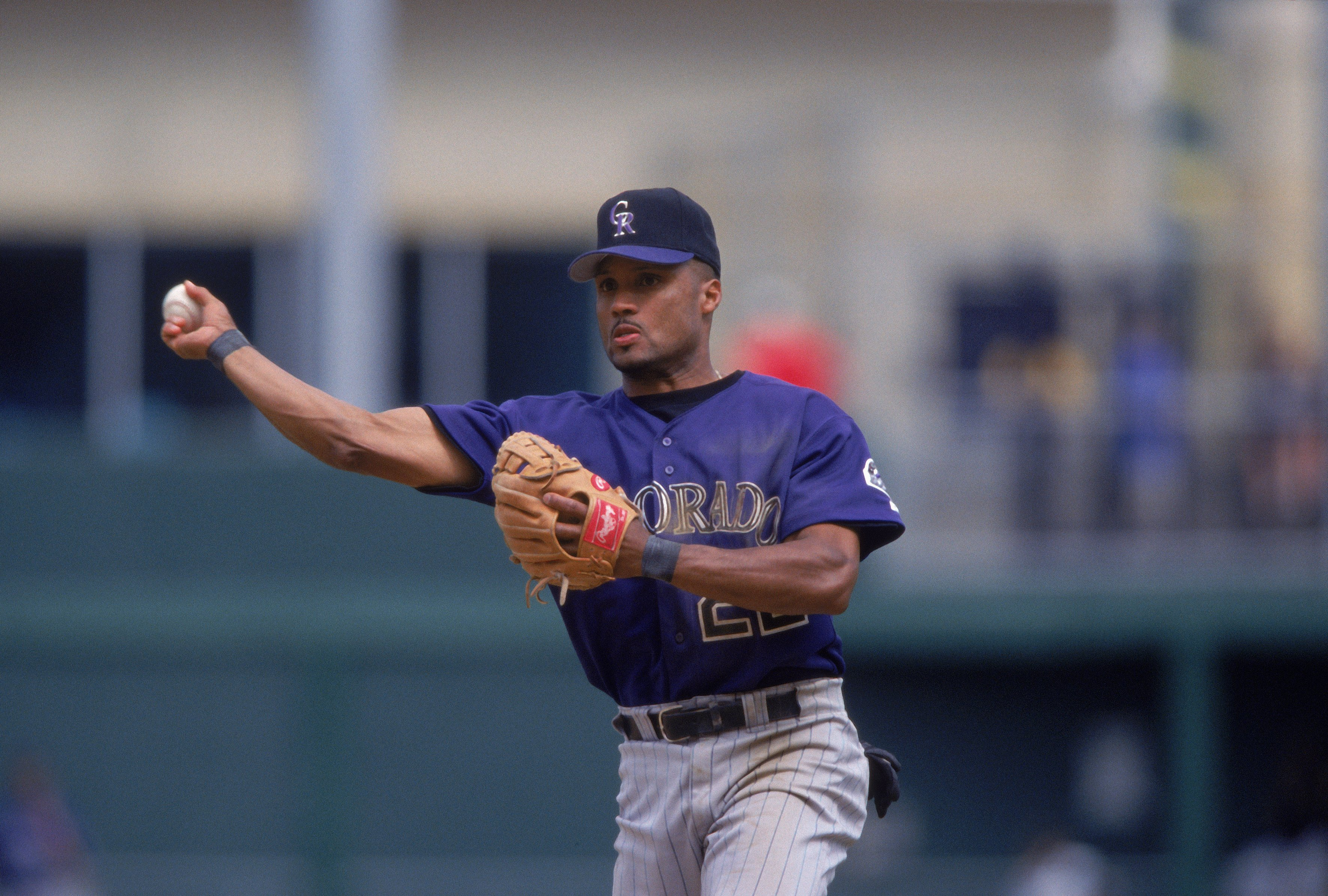May 6 , 2001: Terry Shumpert #22 of the Colorado Rockies throws the ball during the game against the Pittsuburgh Pirates at PNC Park in Pittsburgh, Pennsylvania. The Pirates defeated the Rockies 4-3.(credit: Tom Pigeon/Allsport/Getty Images)
