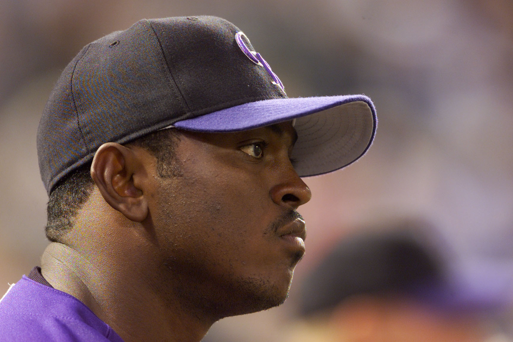 Sept. 6, 2001: Mario Encarnacion of the Colorado Rockies looks on during the game against the Los Angeles Dodgers at Coors Field in Denver, Colorado. The Dodgers won 9-5. (credit : Brian Bahr/Allsport/Getty Images)