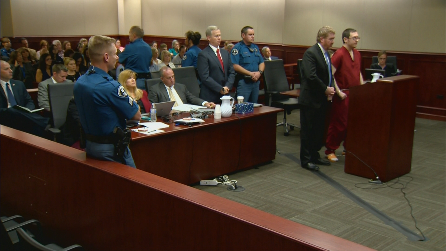 Aurora theater gunman James Holmes during his sentencing on Wednesday (credit: CBS)