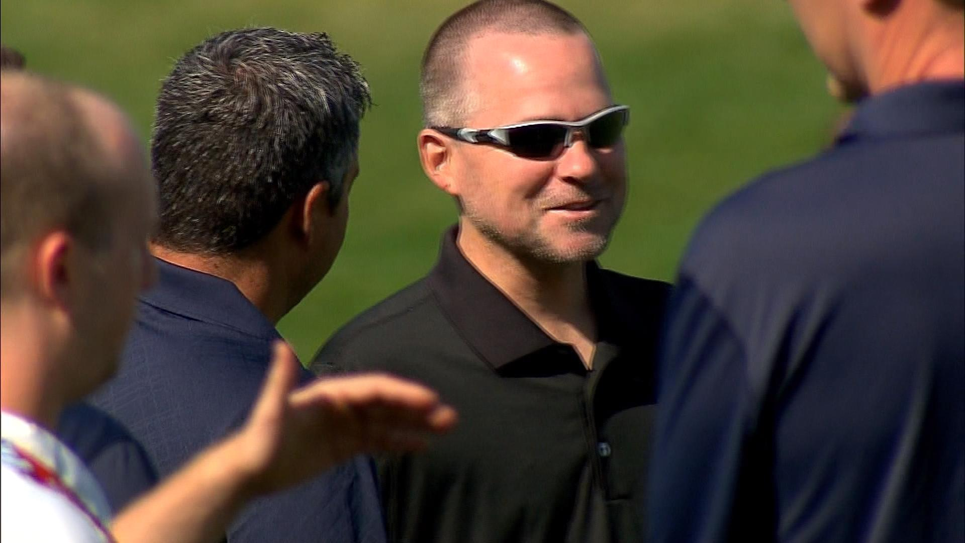 Denver Nuggets head coach Michael Malone at Broncos practice on Monday (credit: CBS)