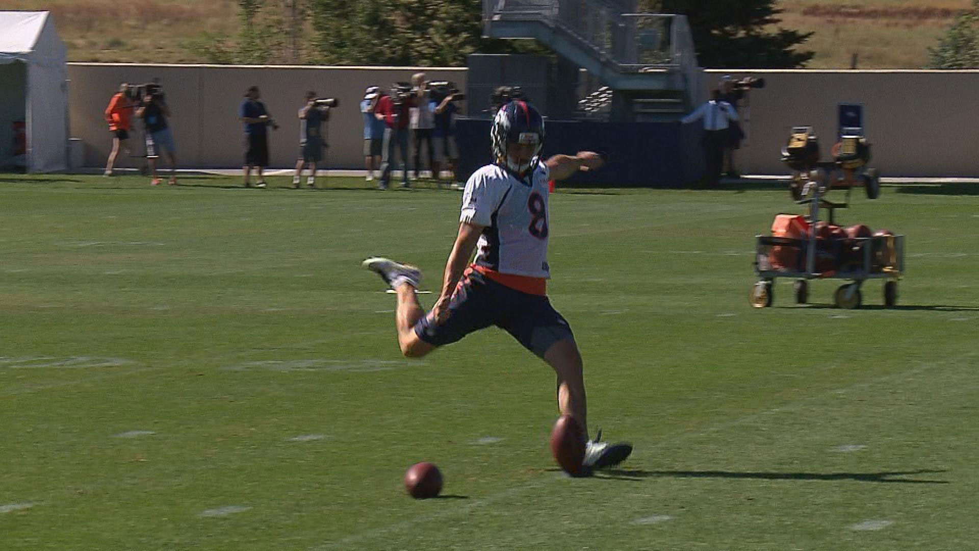 Broncos kickers Connor Barth and Brandon McManus (pictured) continue to battle for the place kicking job. Barth was signed by the Broncos mid season last year and handled placekicking duties. McManus was cut by the Broncos during training camp last season, but was re-signed late in the season to kick off (credit: David Wille)