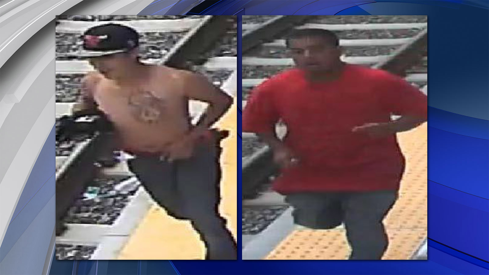 Police in Denver searched for two suspects wanted in a robbery at W. 12th Ave. and N. Knox Court (credit: Denver Police)