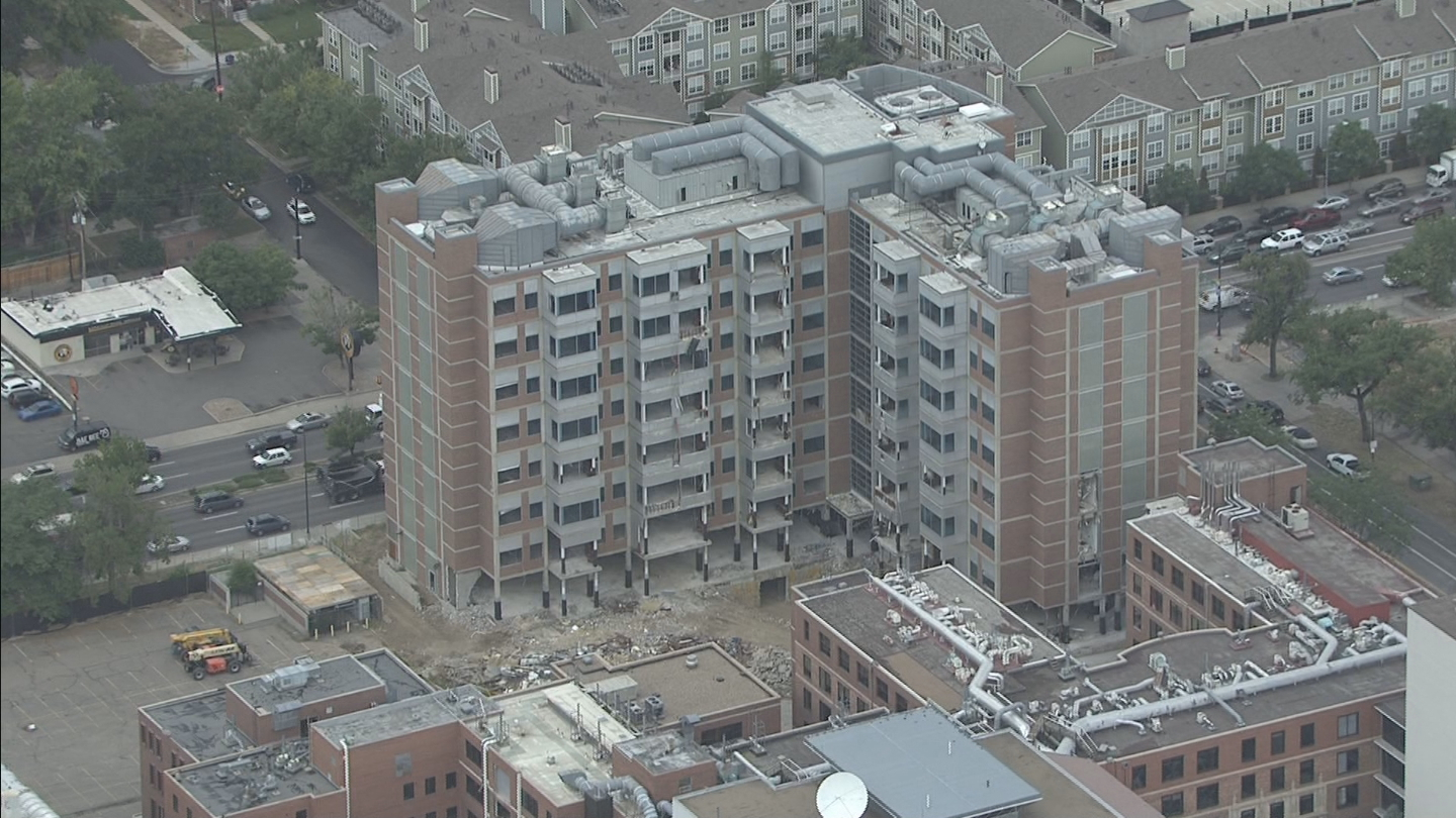Copter4 flew over the old Biomedical Reserach Building at 9th and Colorado which will be imploded on Saturday (credit: CBS)