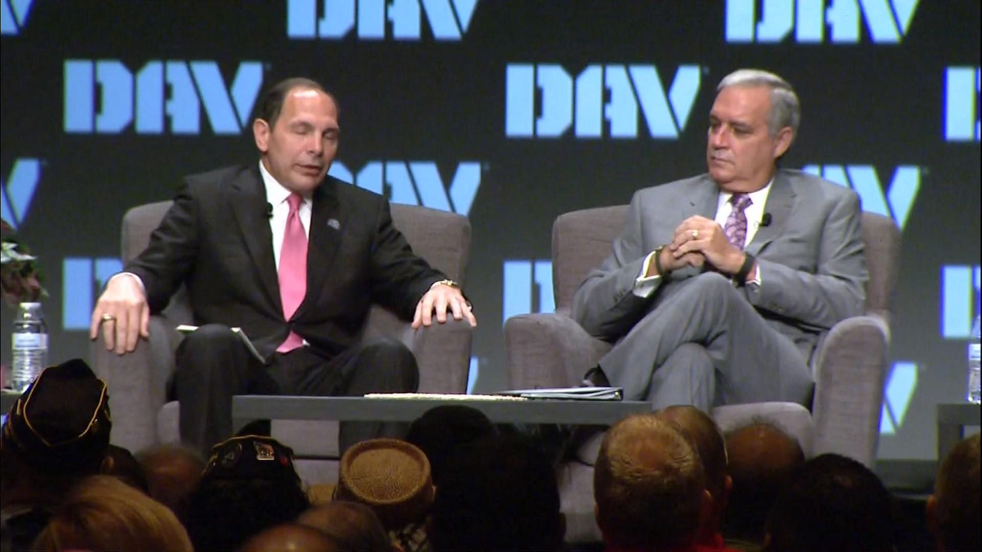 VA Secretary Robert McDonald  and Rep. Jeff Miller, chairman of the House Veterans Affairs Committee in Denver on Monday (credit: CBS)