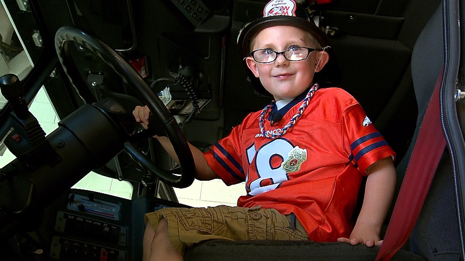 Brayden at the West Metro fire station (credit: CBS)