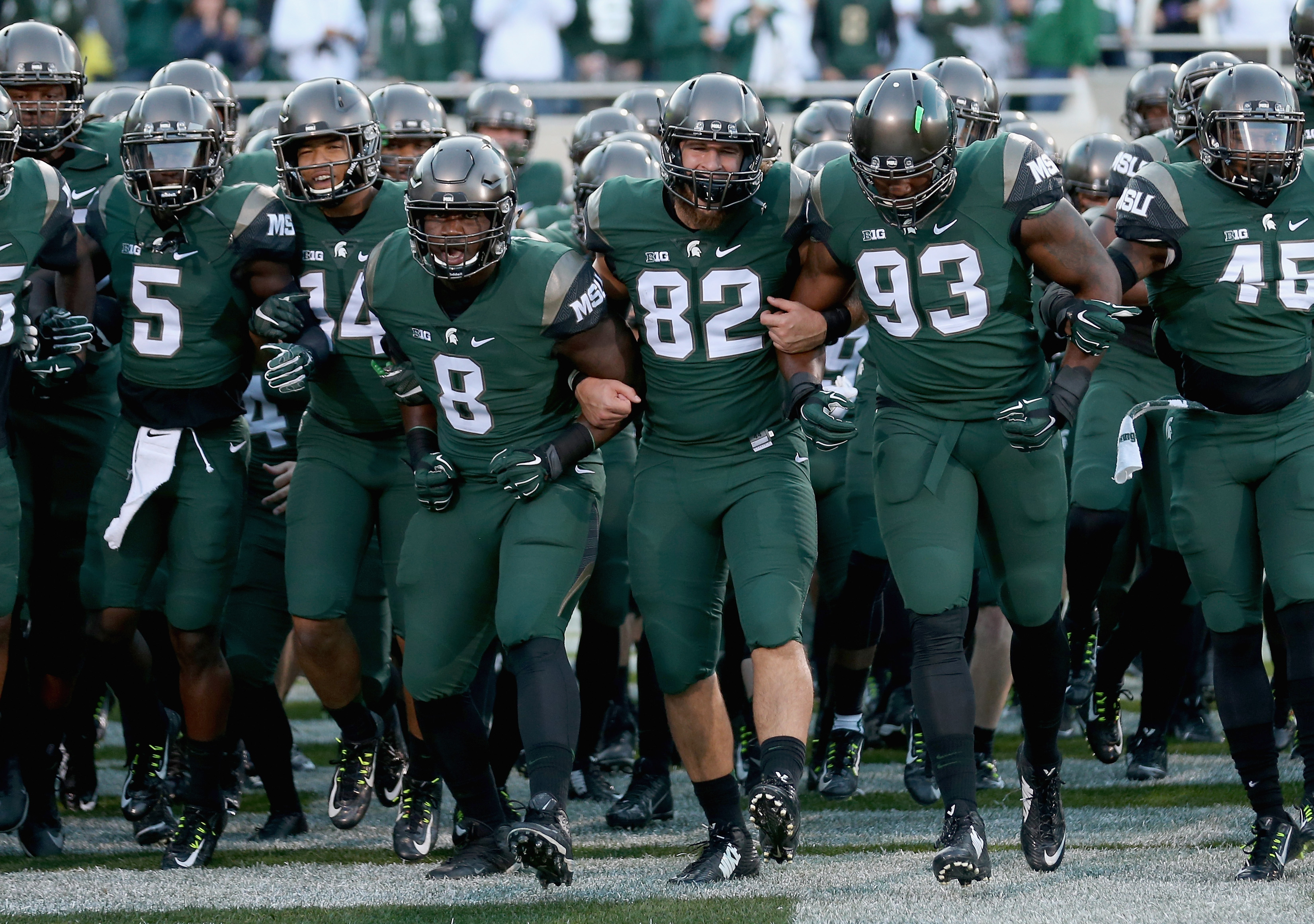 EAST LANSING, MI - SEPTEMBER 12: A general view of the Michigan State Spartans on the field before their game at Spartan Stadium on September 12, 2015 in East Lansing, Michigan. (Photo by Streeter Lecka/Getty Images)