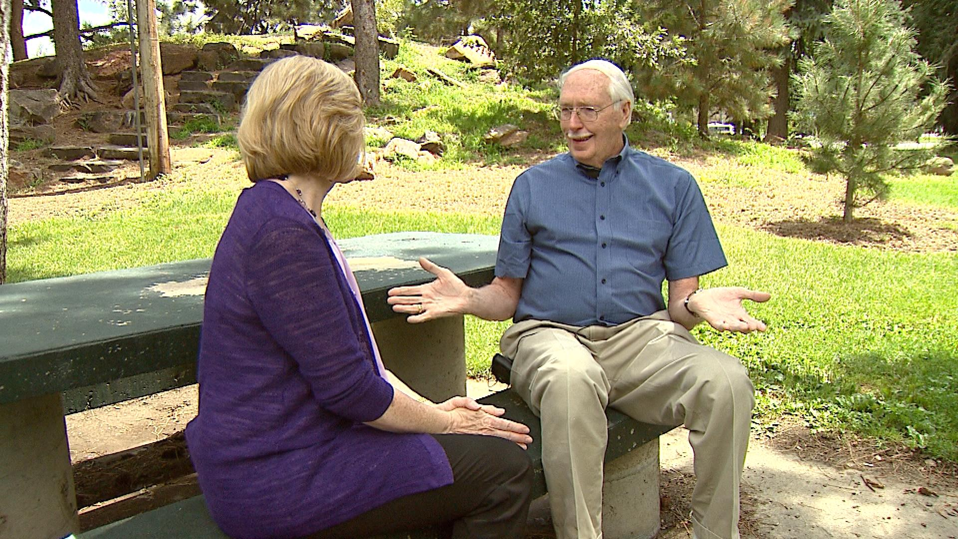 CBS4 Health Specialist Kathy Walsh talks with a happy AFib patient Jerry Lester (credit: CBS)