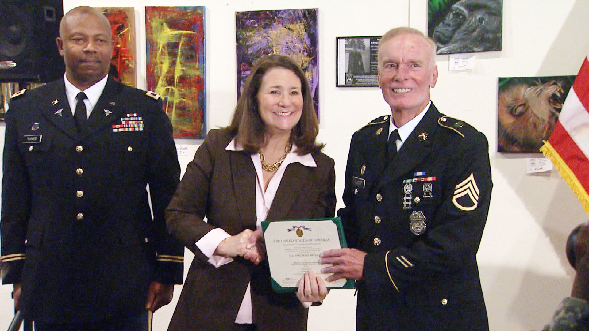 Rep. Diana DeGette presents the Soldier's Medal to Army Spc. Joseph Gilmore (credit: CBS)