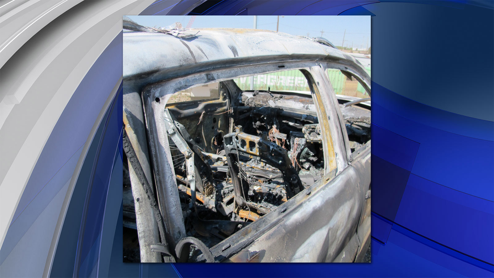 The burned car connected to the deadly hit-and-run investigation (credit: Denver Police)