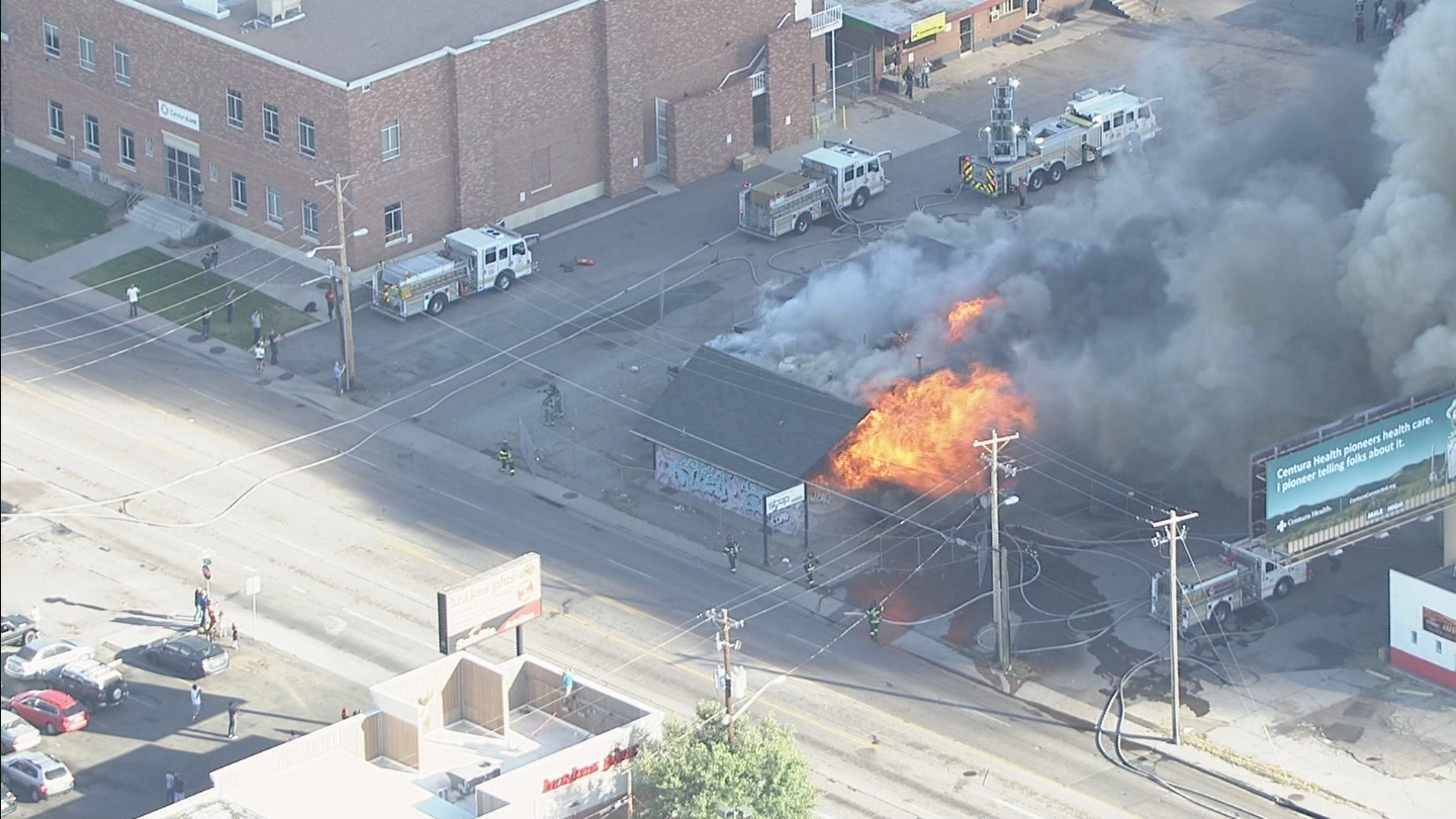 Copter4 flew over an abandoned nightclub at Evans and Colorado on Friday (credit: CBS)