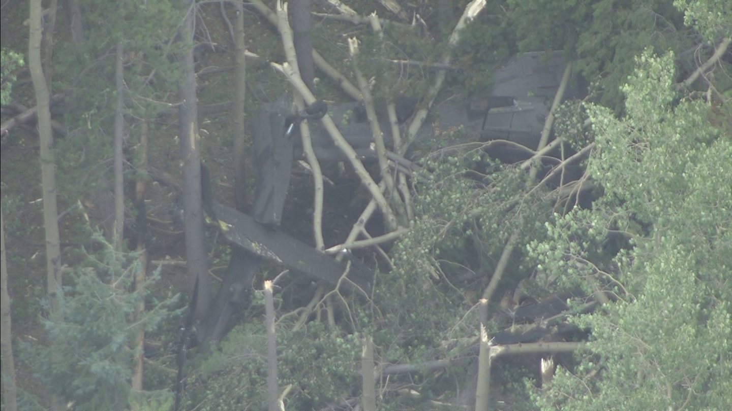 Copter4 flew over the helicopter wreckage (credit: CBS)