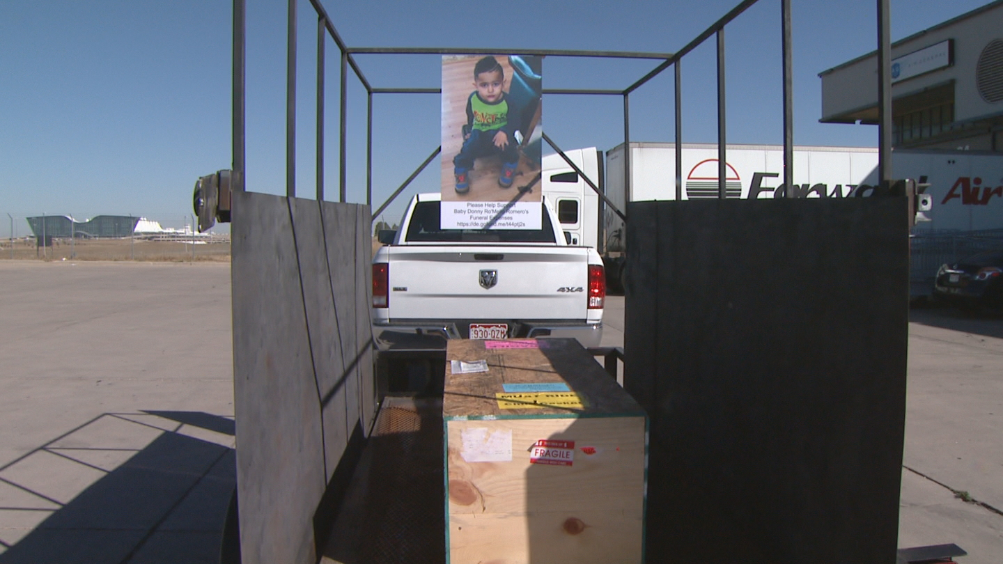 The casket was loaded on a trailer with Donnie's picture (credit: CBS)