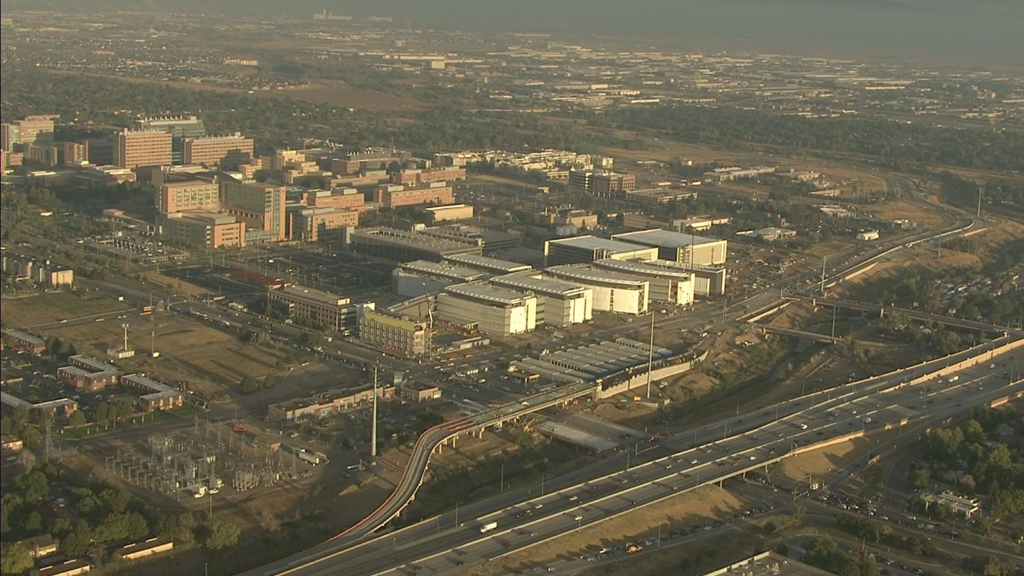 Copter4 flew over the VA Hospital in Aurora as construction continues (credit: CBS)