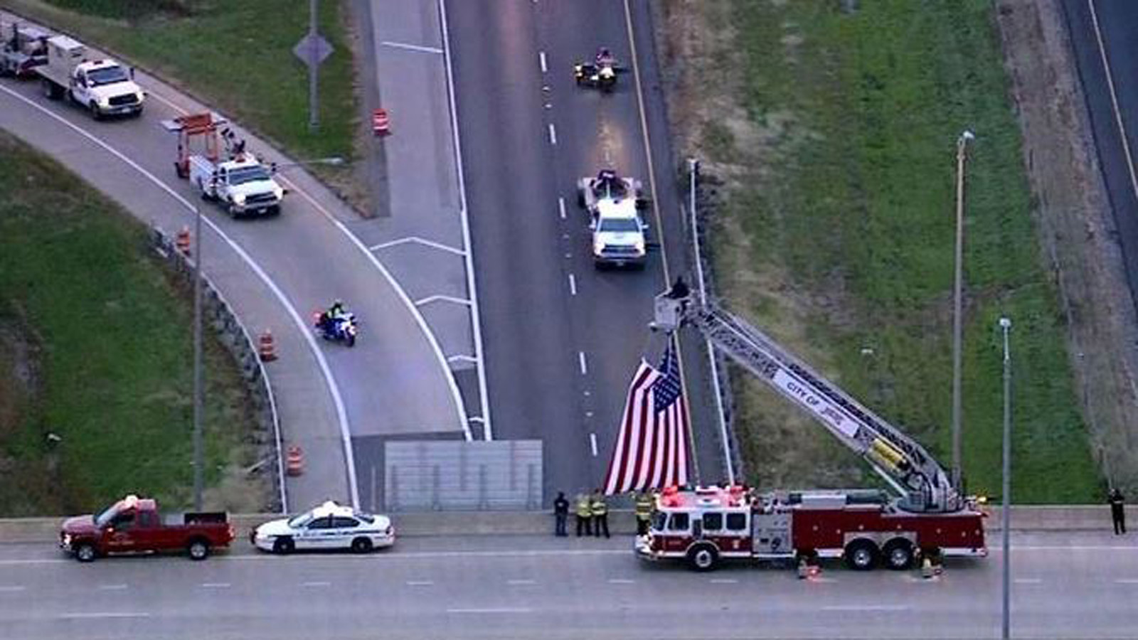 The WTC beam was honored during its journey (credit: Poudre Fire Authority)