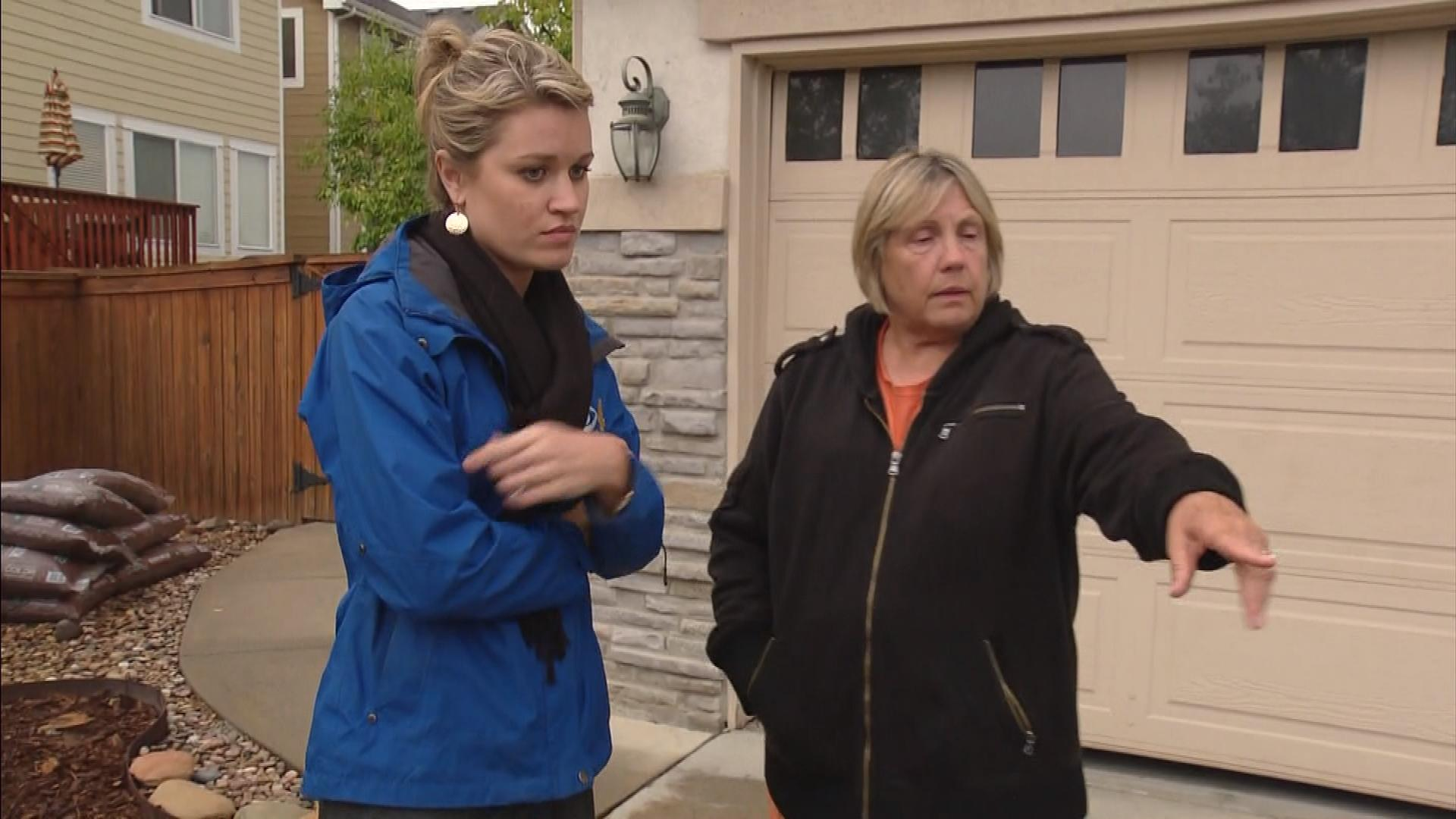 Dorothy Morton shows CBS4's Kelly Werthmann where the confrontation happened. (credit: CBS)