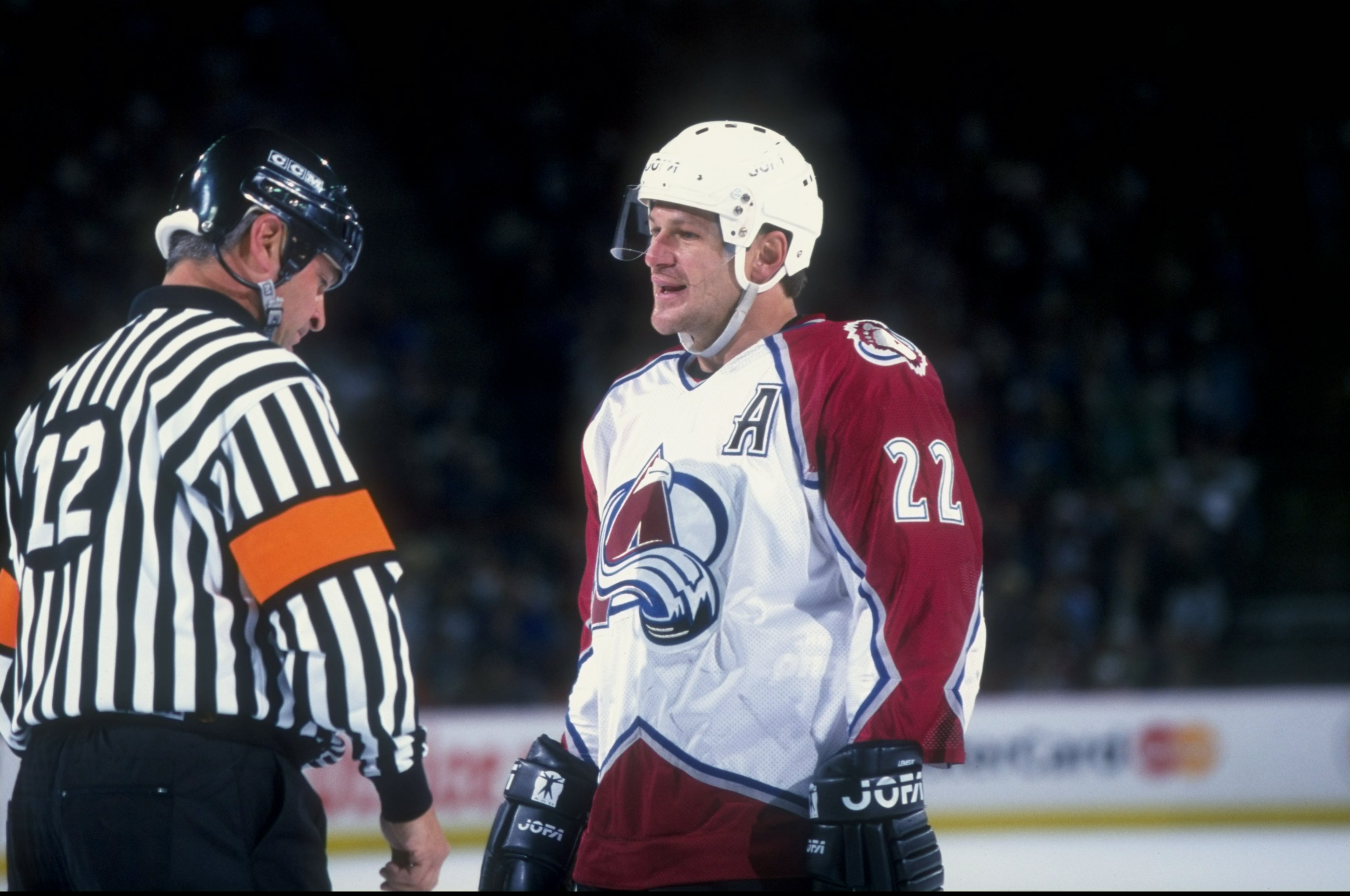Right wing Claude Lemieux of the Colorado Avalanche in action during a game against the Detroit Red Wings at McNichols Arena in Denver, Colorado. The Avalanche defeated the Red Wings 4-3. Mandatory Credit: Brian Bahr /Allsport