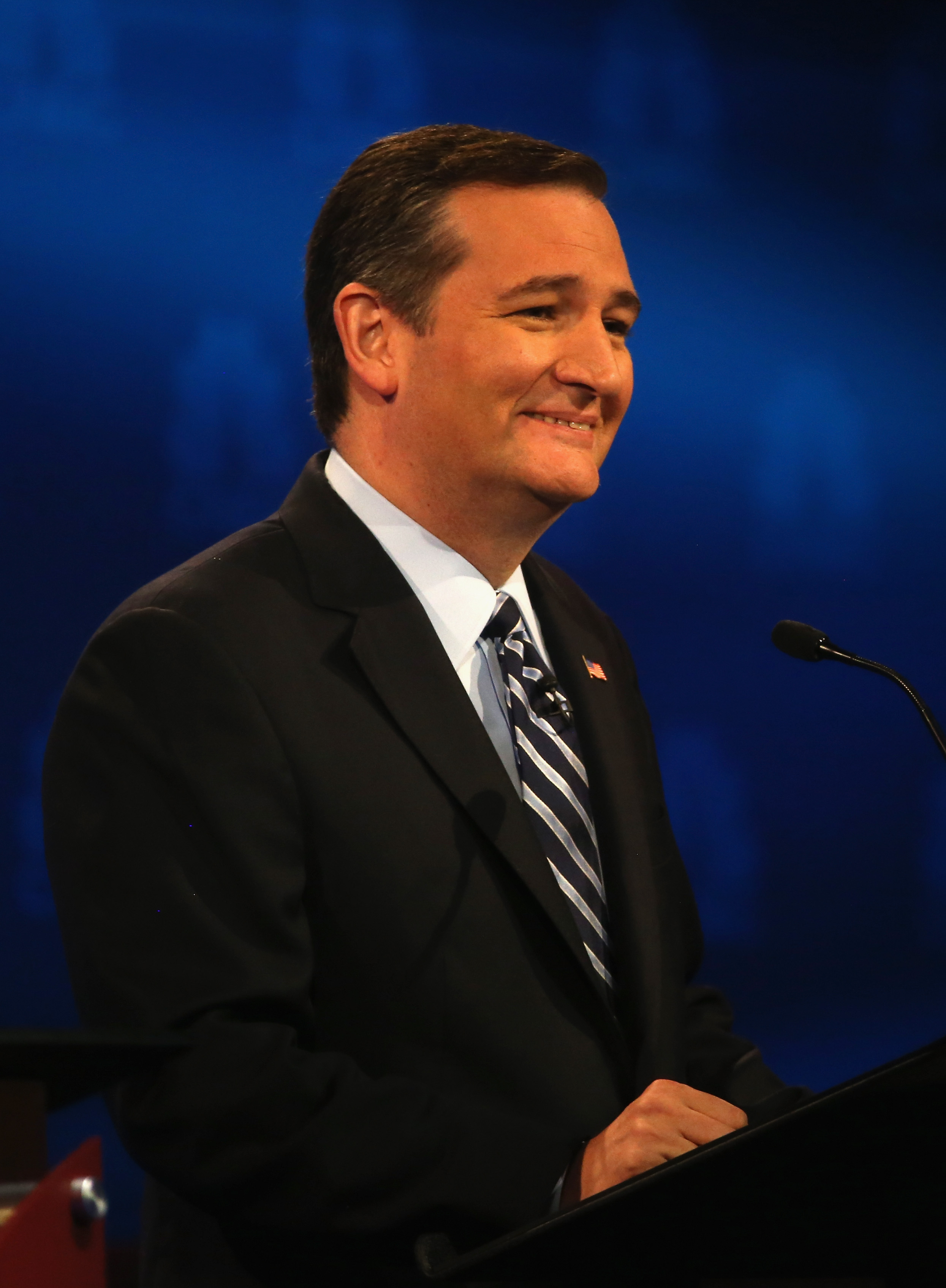 Presidential candidate Sen. Ted Cruz (R-TX) smiles during the CNBC Republican Presidential Debate at University of Colorados Coors Events Center Oct. 28, 2015, in Boulder. (Photo by Justin Sullivan/Getty Images)