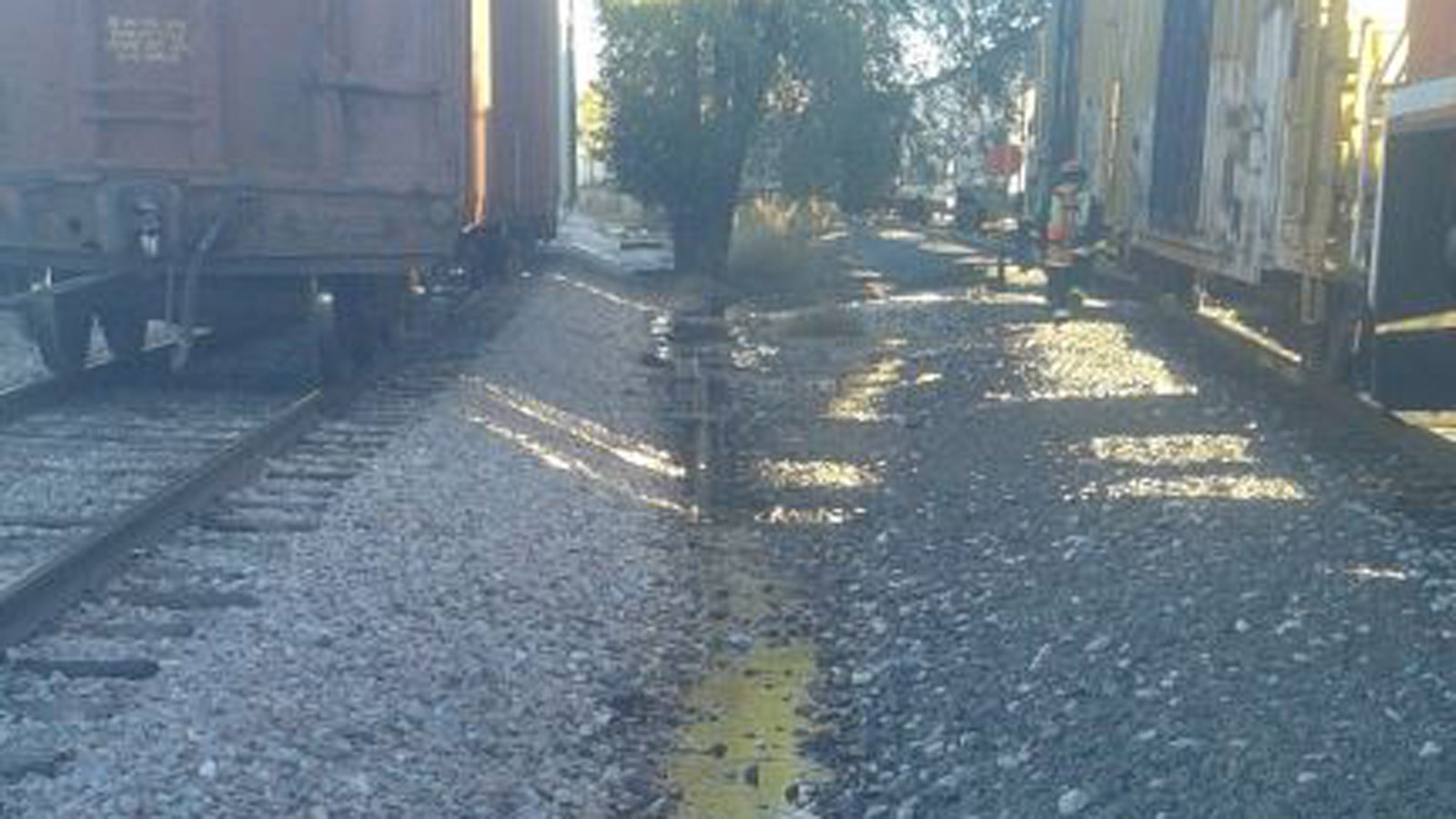 Diesel fuel from a locomotive tank in Fort Collins (credit: Poudre Fire Authority)