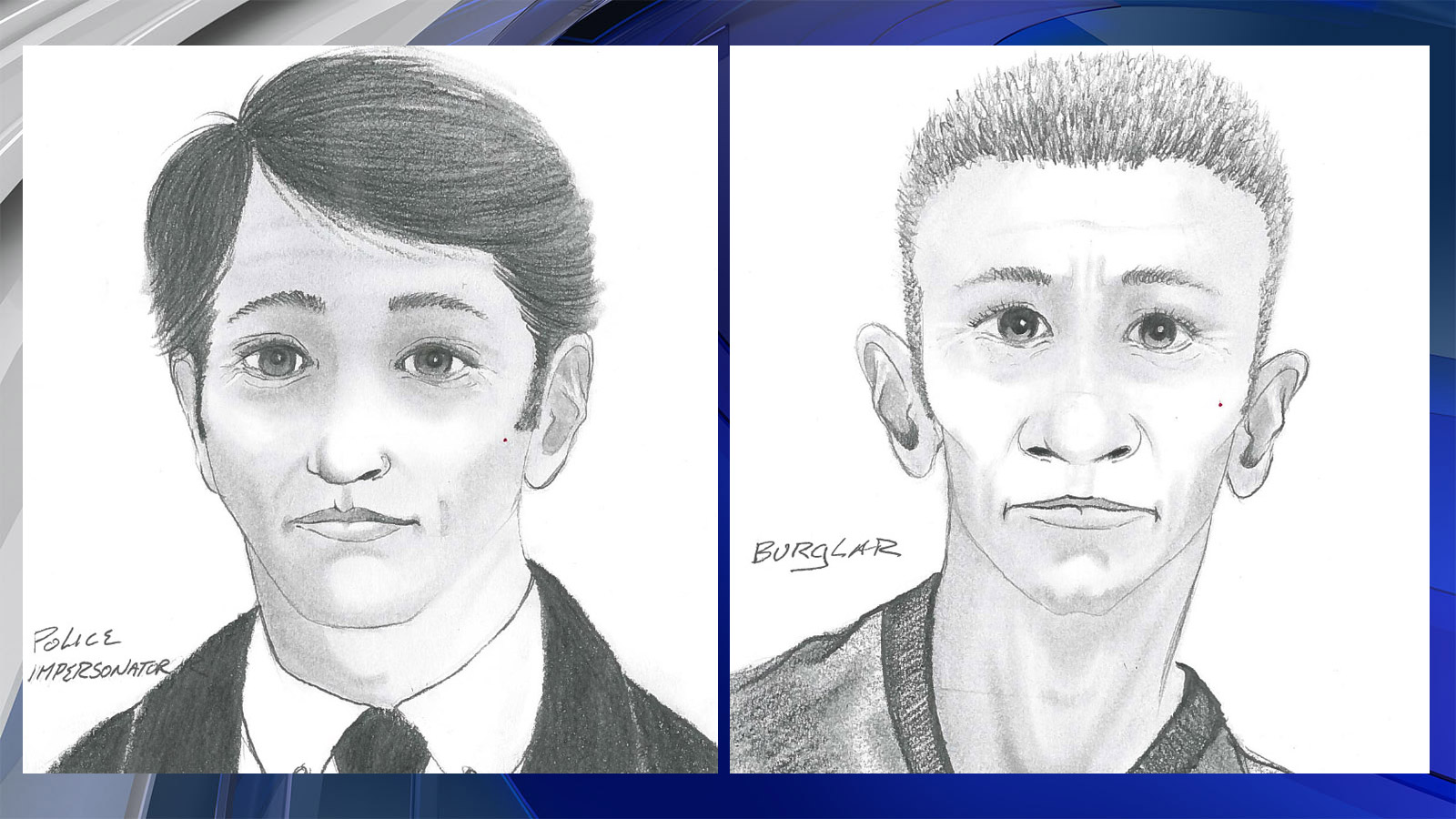 Sketches show the alleged burglar, right,  and the police officer impersonator, left (credit: Fort Collins police)