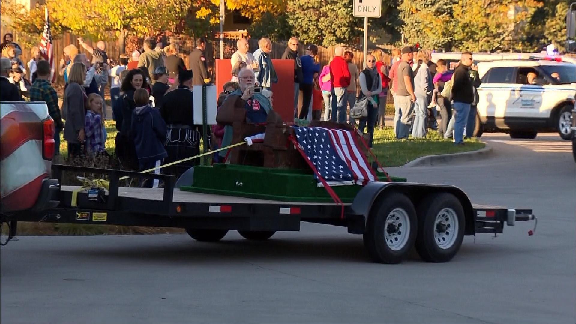 The WTC beam was honored during its journey (credit: CBS)