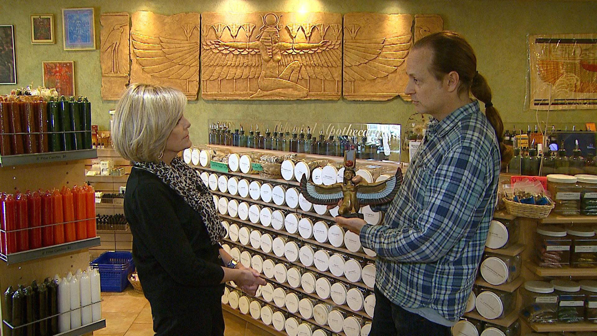 CBS4's Suzanne McCarroll interviews Isis Books & Gifts owner Jeff Harrison (credit: CBS)