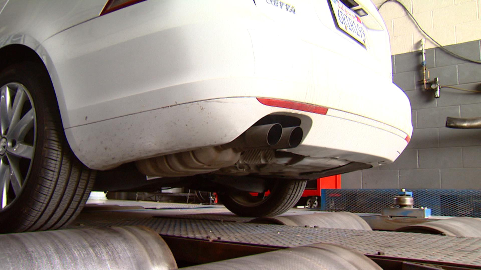 The Jetta being tested with State of Colorado testing equipment (credit: CBS)