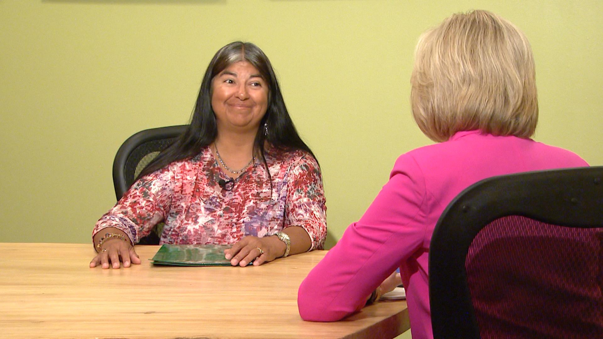 Sen. Irene Aguilar is interviewed by CBS4's Kathy Walsh (credit: CBS)