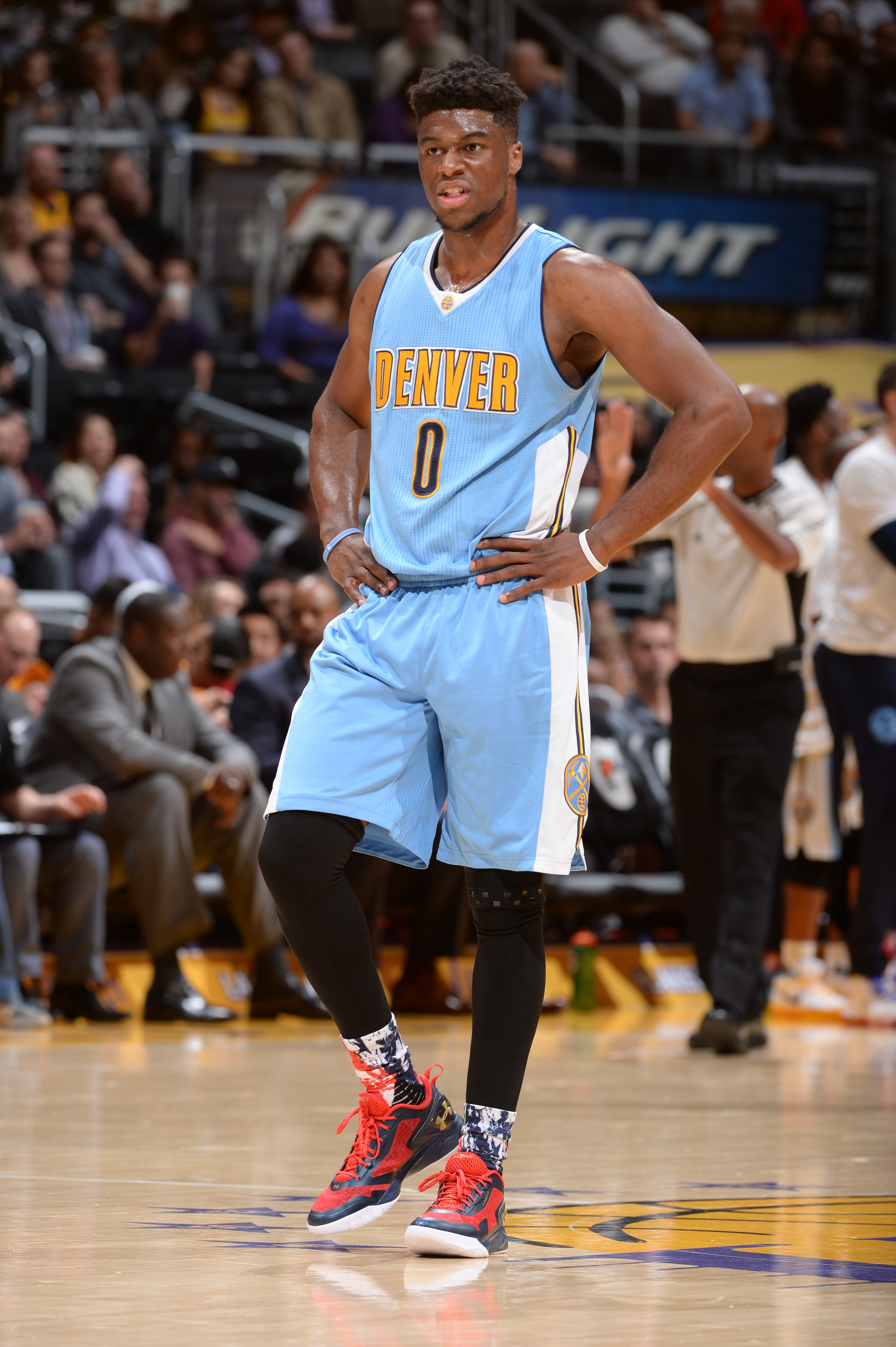 Emmanuel Mudiay #0 of the Denver Nuggets ;llooks on during the game against the Los Angeles Lakers on November 3, 2015 at STAPLES Center in Los Angeles, California. (Photo by Andrew D. Bernstein/NBAE via Getty Images)