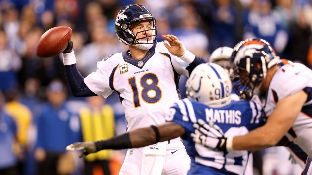 Peyton Manning #18 of the Denver Broncos throws a pass during the game against the Indianapolis Colts at Lucas Oil Stadium on November 8, 2015 in Indianapolis, Indiana.  (Photo by Andy Lyons/Getty Images)