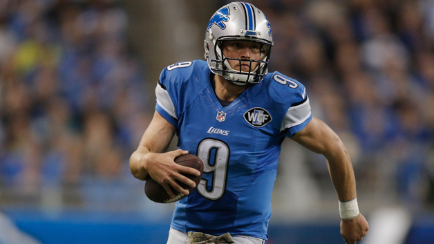 Matthew Stafford of the Detroit Lions runs the ball in the fourth quarter while playing the Oakland Raiders at Ford Field on Nov. 22, 2015. (credit: Gregory Shamus/Getty Images)