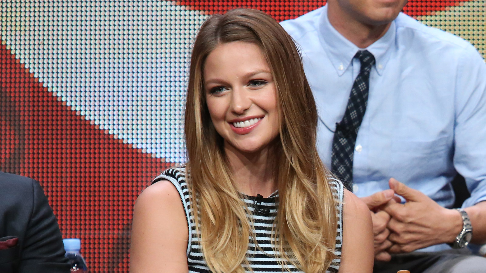 Melissa Benoist onstage during the 'Supergirl' panel discussion at the CBS portion of the 2015 Summer TCA Tour at The Beverly Hilton Hotel on August 10, 2015. (credit: Frederick M. Brown/Getty Images)