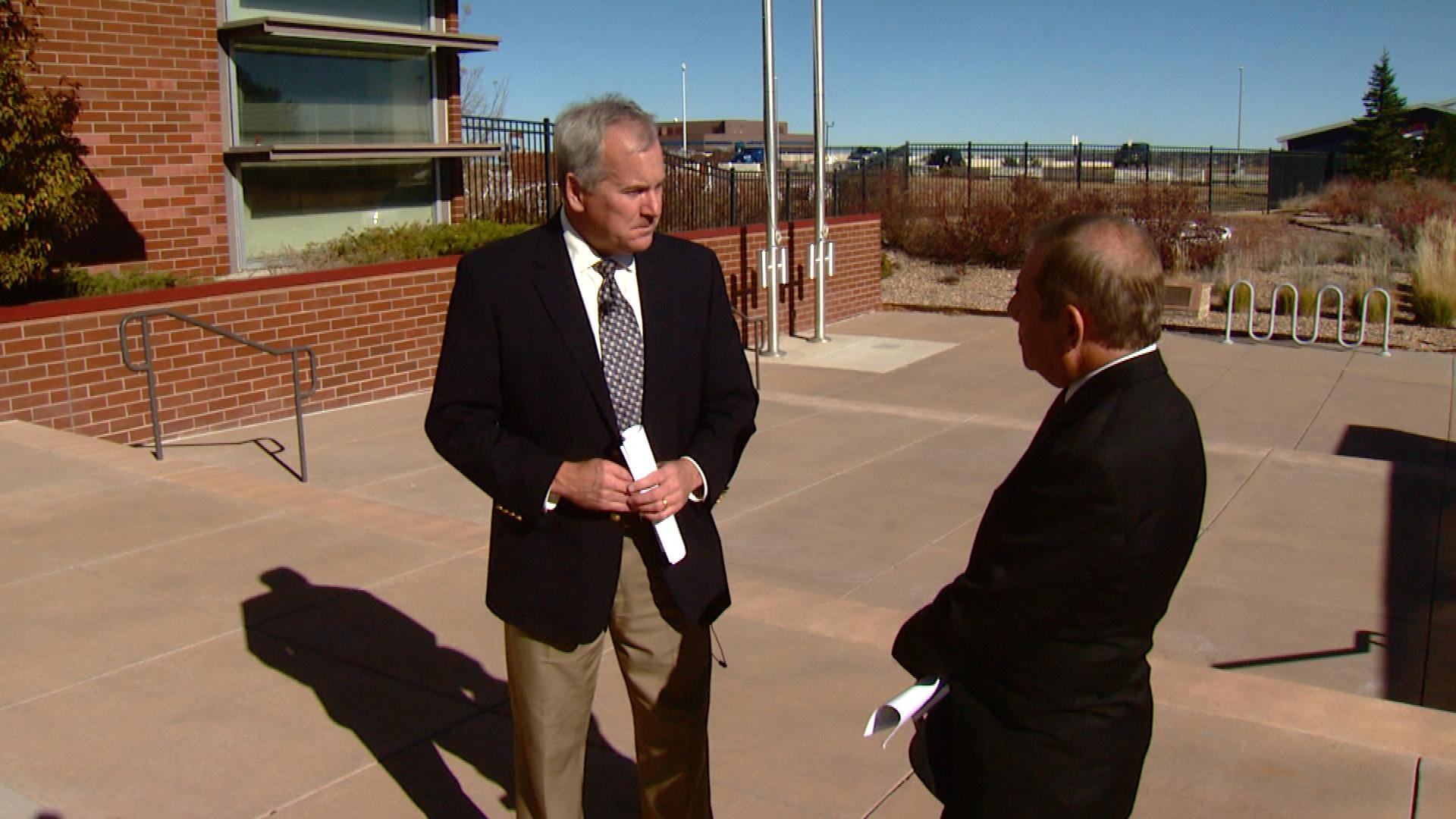 Arapahoe County Sheriff David Walcher is interviewed by CBS4's Rick Sallinger (credit: CBS)