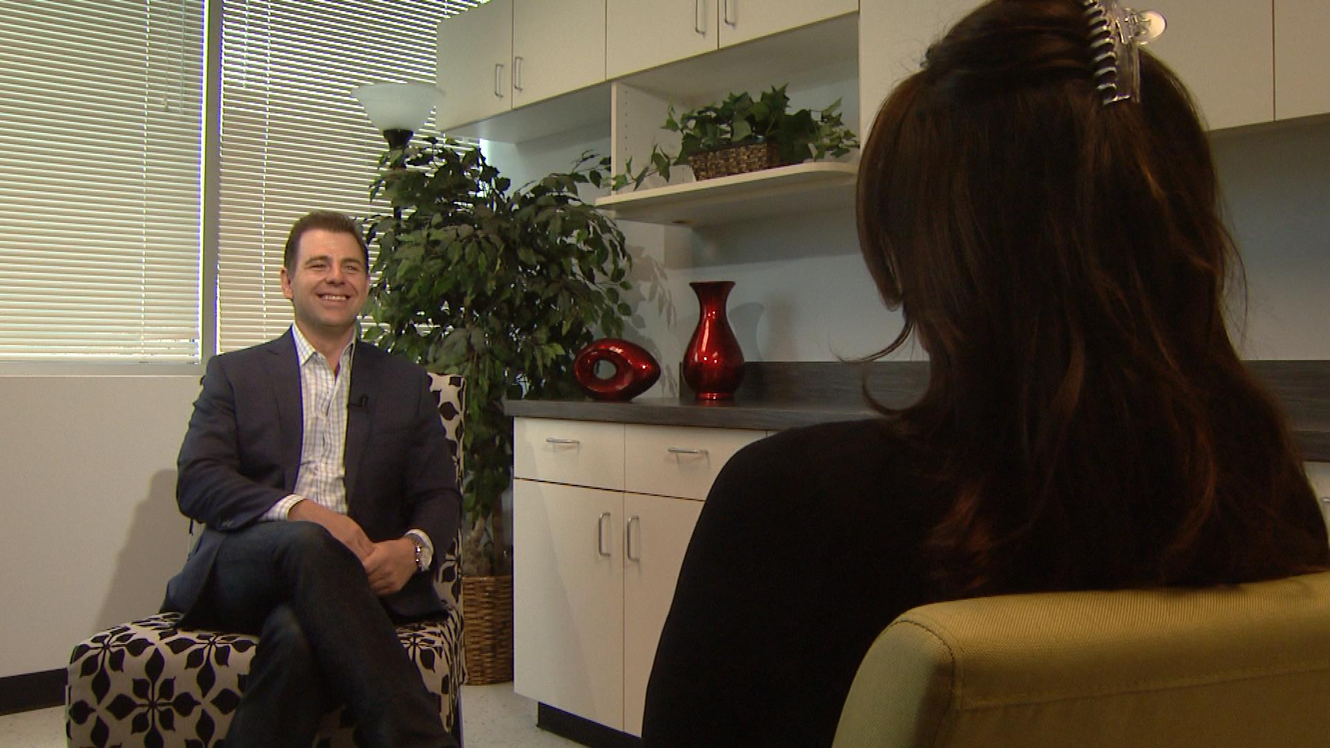 CBS4's Jennifer Brice interviews Raleigh House CEO and owner Eric Lapp (credit: CBS)