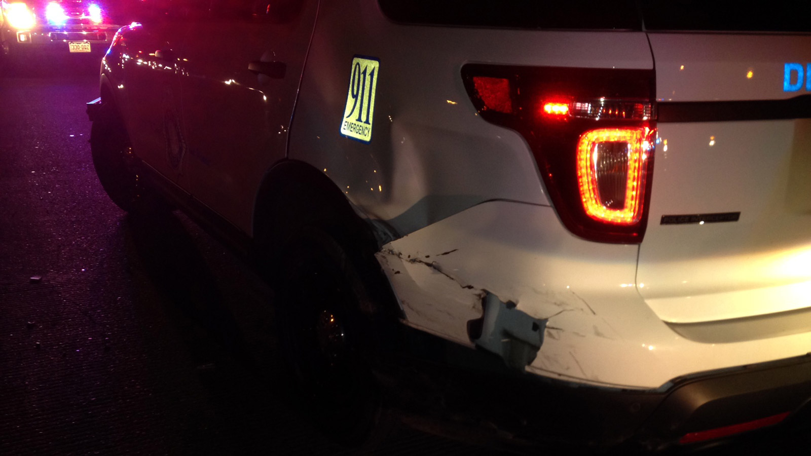 A police patrol vehicle was rammed during a traffic stop involving a stolen vehicle (credit: CBS)