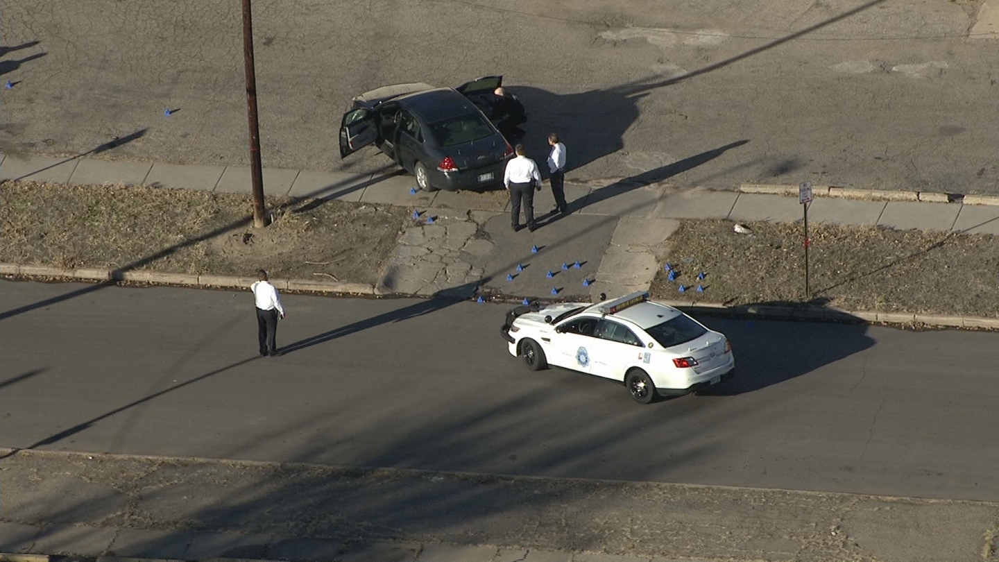 Copter4 flew over the shooting scene where investigators gathered evidence (credit: CBS)