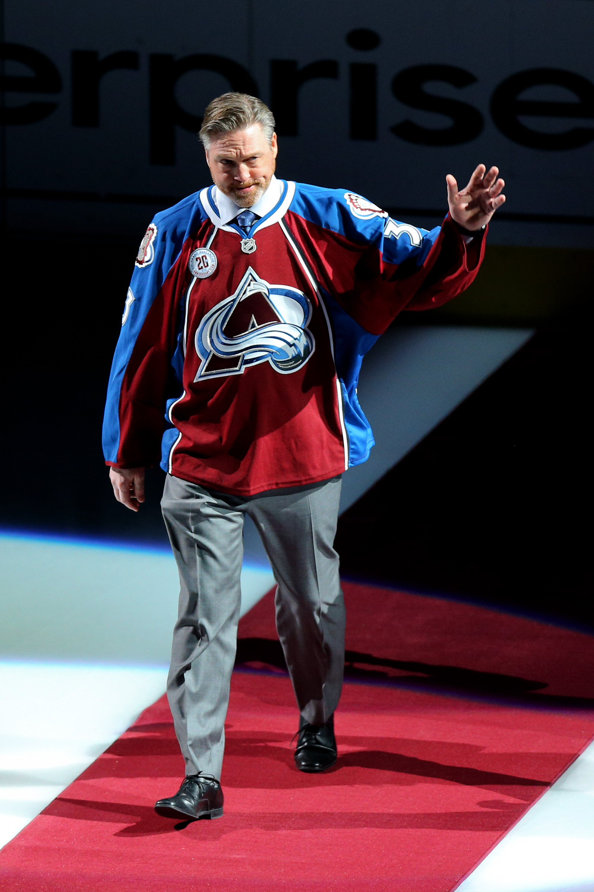Patrick Roy of the Colorado Avalanche is introduced during a ceremony to honor the 20th Anniversary Team before a game against the Minnesota Wild at Pepsi Center on Dec. 7, 2015. (Photo by Justin Edmonds/Getty Images)