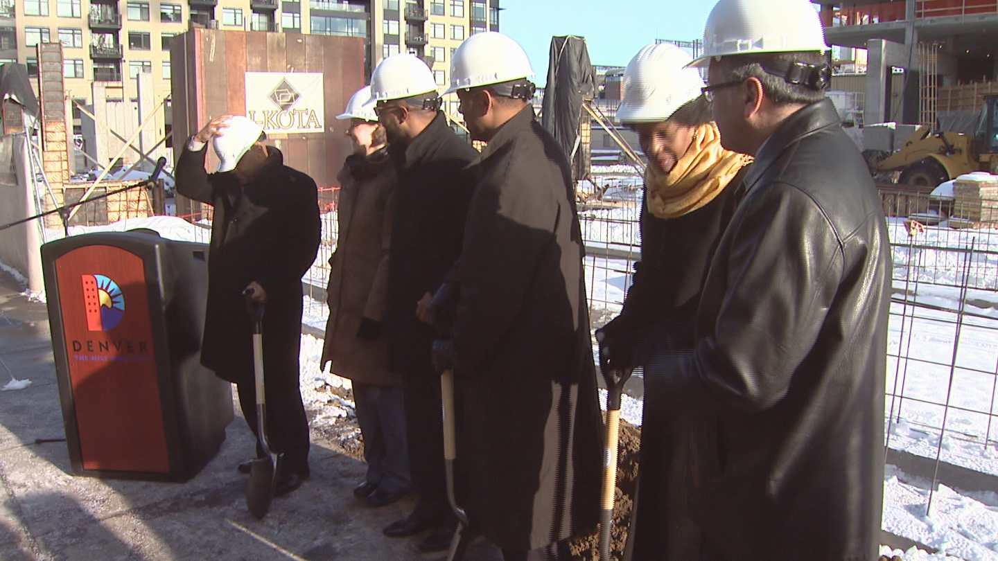 Denver Mayor Michael Hancock at the groundbreaking of the Ashley Union Station Apartments (credit: CBS)