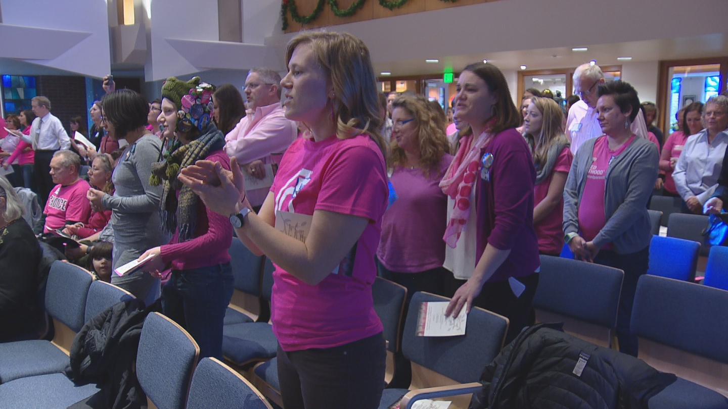 Planned Parenthood supporters (credit: CBS)