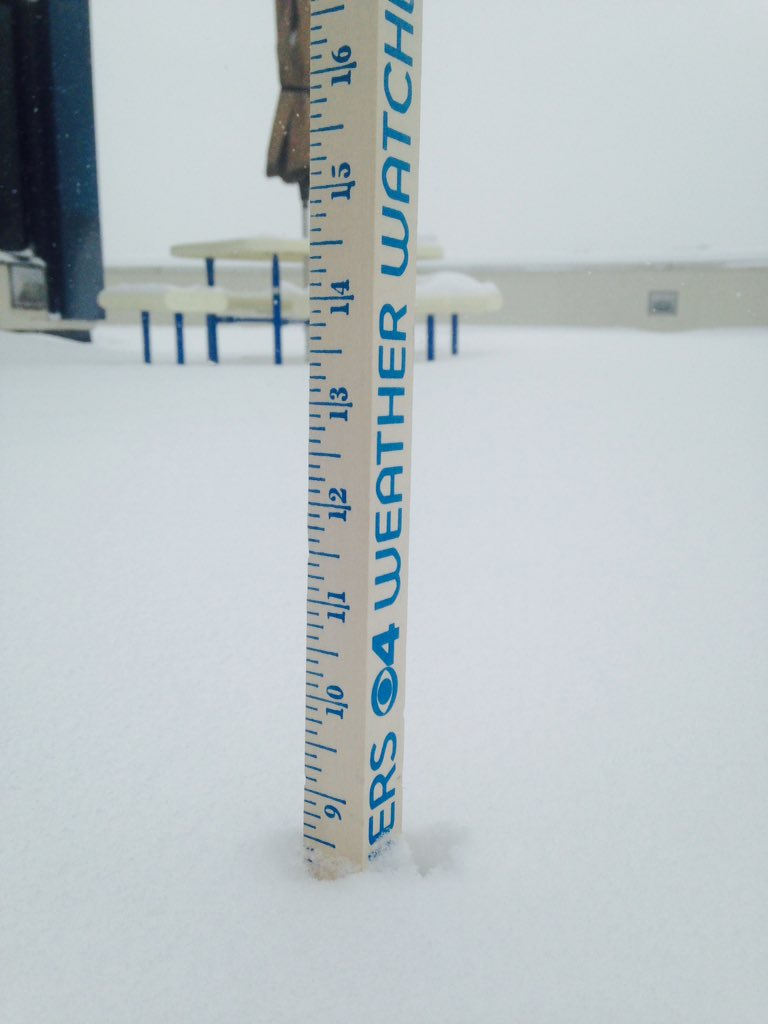"Snow accumulation approaches 9"" on the CBS4 rooftop (credit: CBS)"