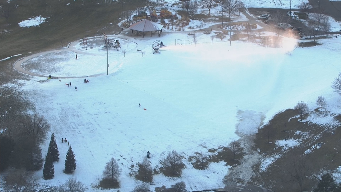 Copter4 flew over sledding at Ruby Hill Rail Yard on Wednesday. (credit: CBS)