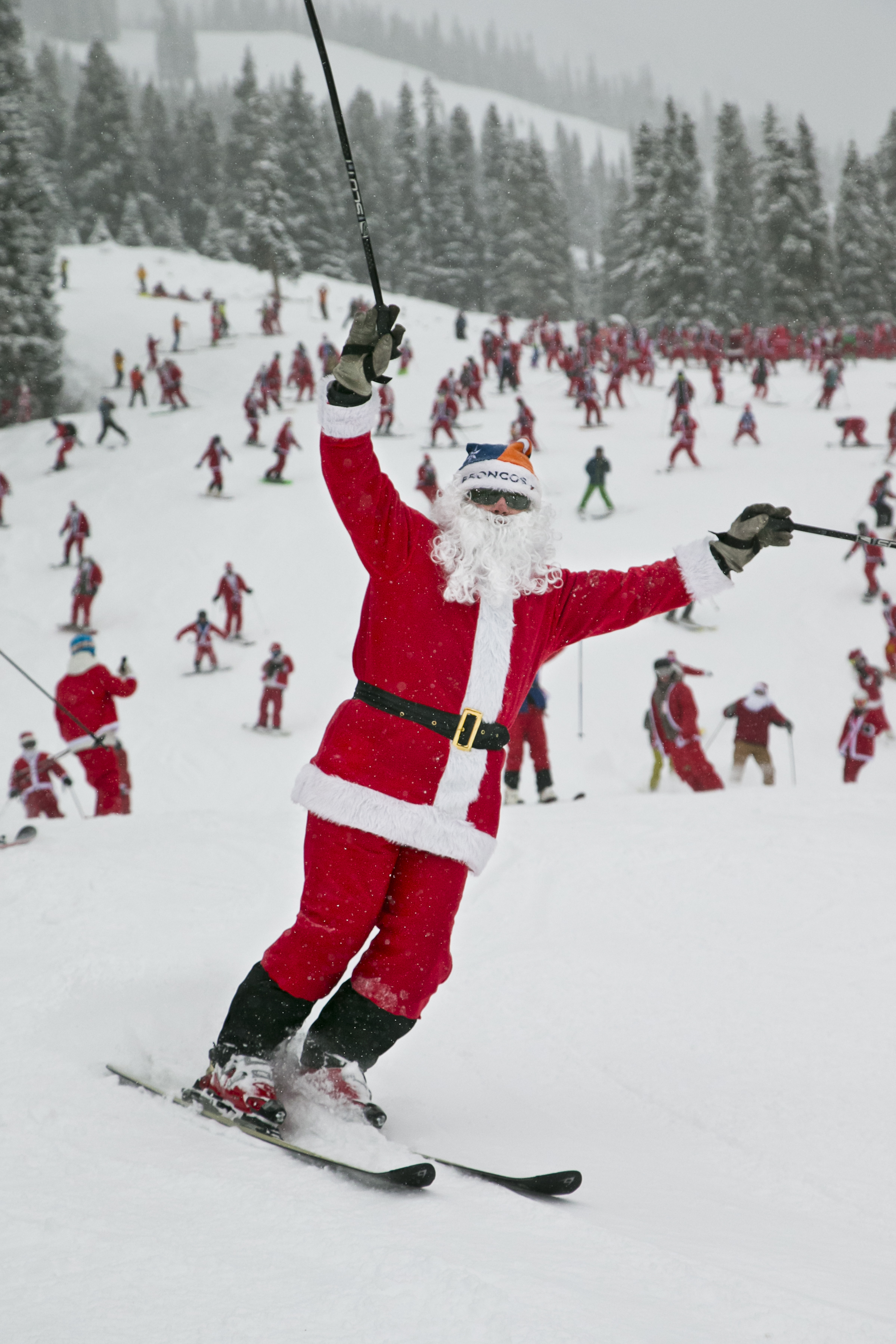 Santa skiing at CBMR on Sat., Dec. 12, 2015. A total of 827 Santas were recorded in this years count.  (credit: Nathan Bilow)