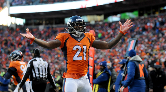 Aqib Talib #21 of the Denver Broncos celebrates a defensive stop against the Pittsburgh Steelers.