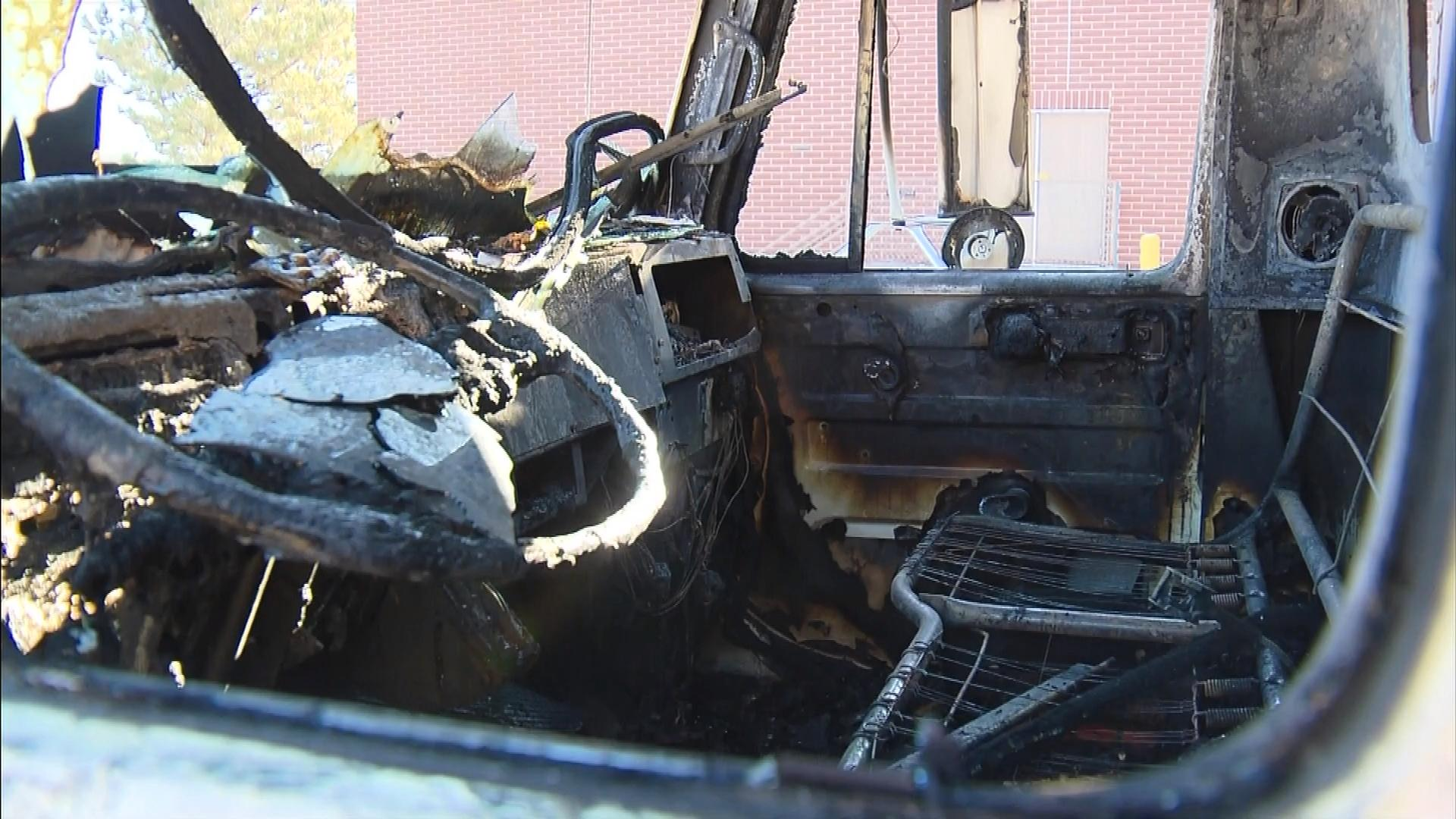 Mohammed Almosawi's burned out truck (credit: CBS)