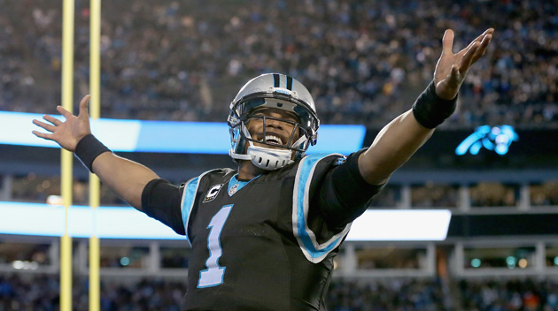 Cam Newton #1 of the Carolina Panthers reacts after a 4th quarter touchdown against the Tampa Bay Buccaneers.