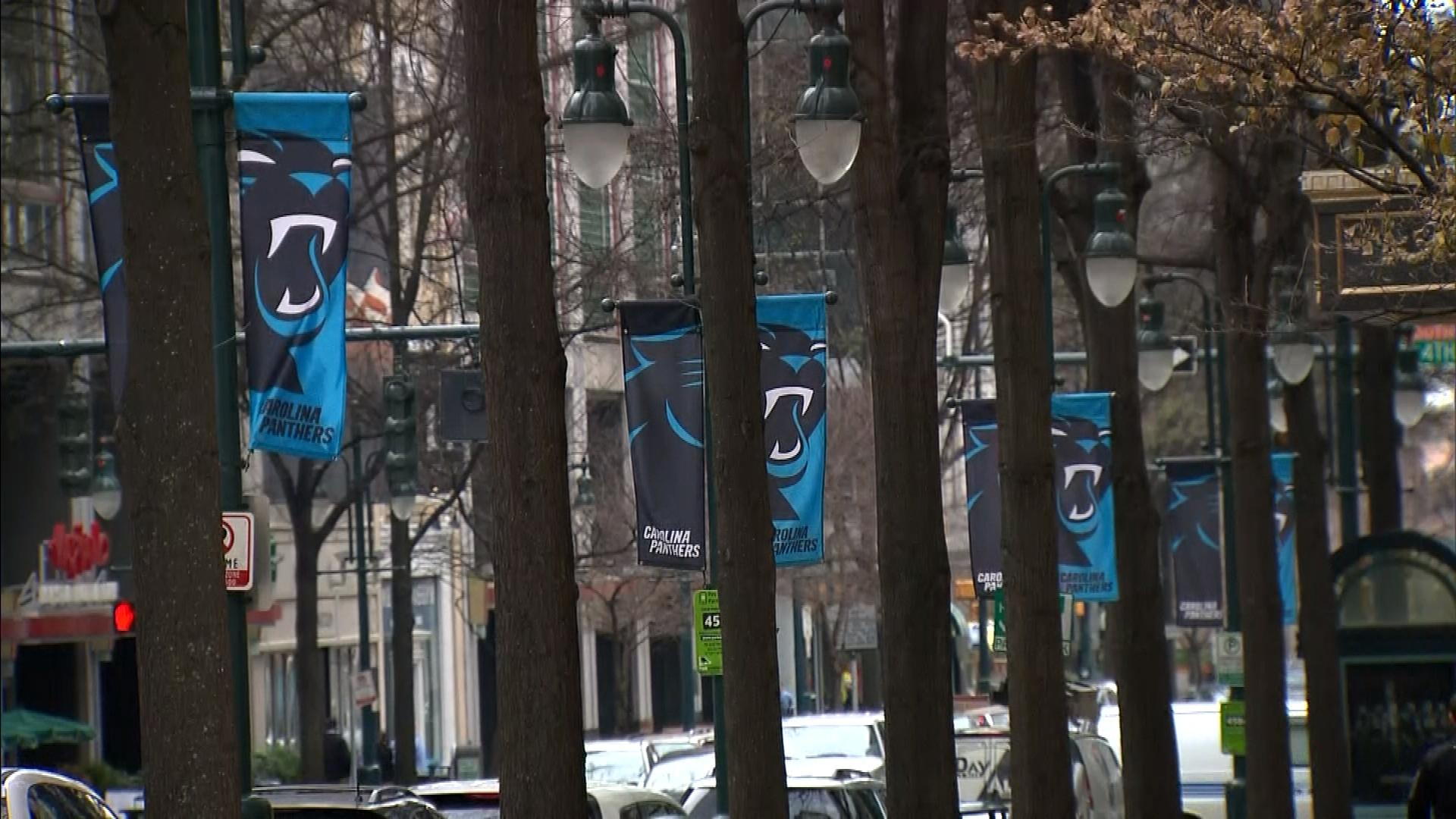 Panthers banners in Charlotte (credit; CBS)