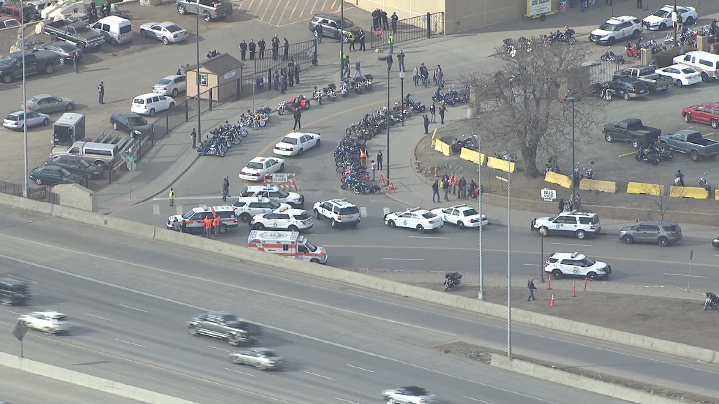 Copter4 flew over the shooting scene where there was a large police presence (credit: CBS)