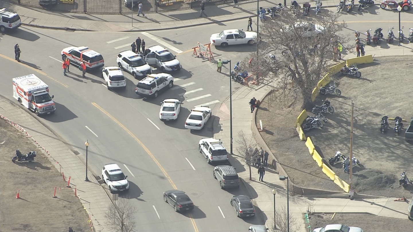 Copter4 flew over the scene outside the National Western Complex (credit: CBS)