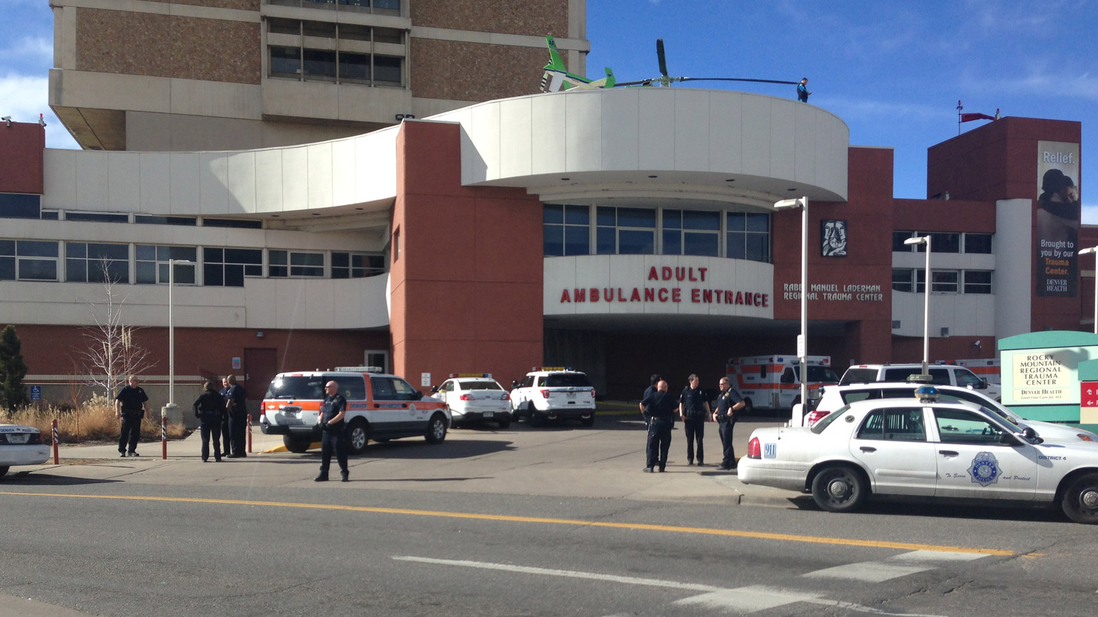 Police on patrol outside Denver Health Medical Center (credit: CBS)